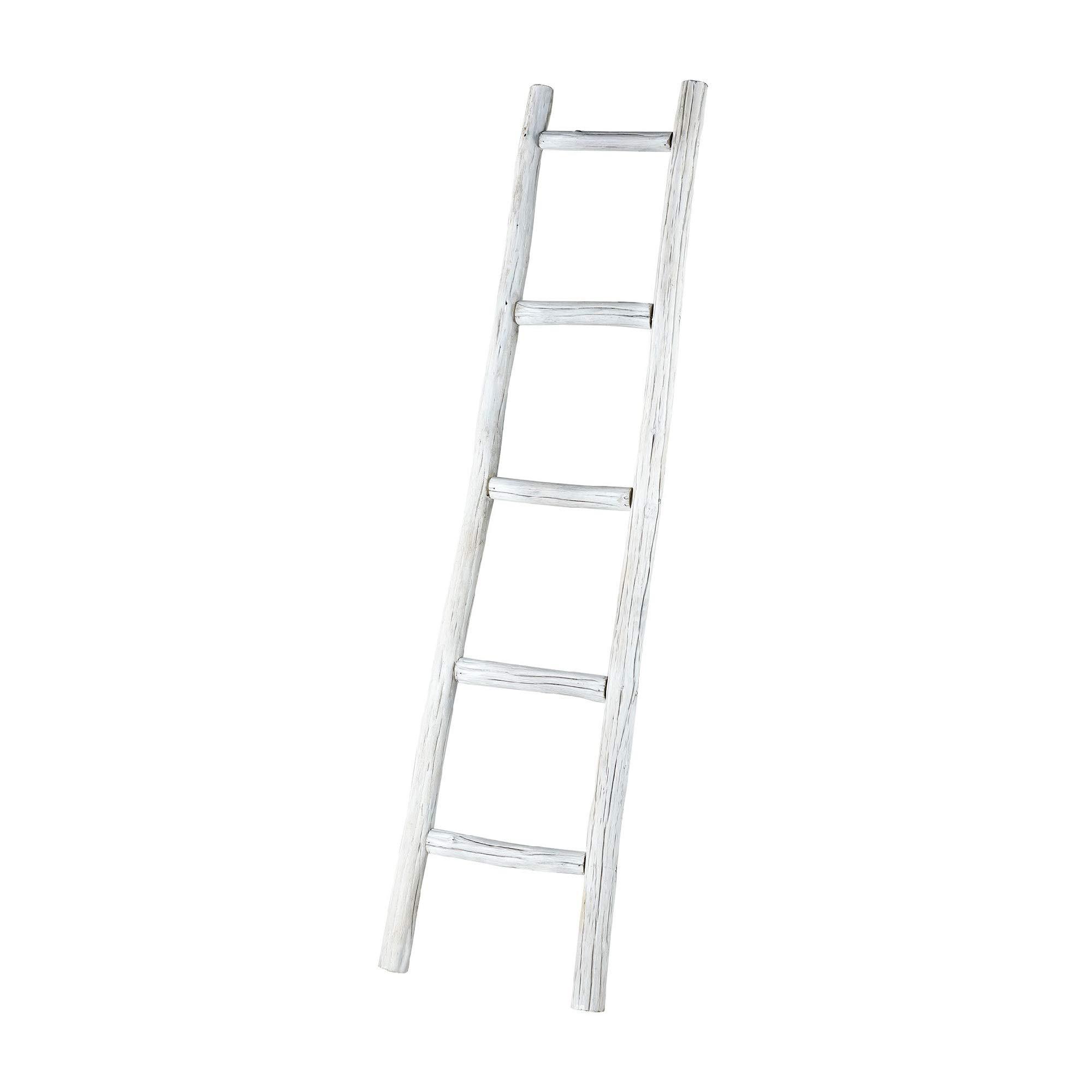 Contemporary Home Living 60'' Distressed White Wooden Display Rack Ladder by Contemporary Home Living