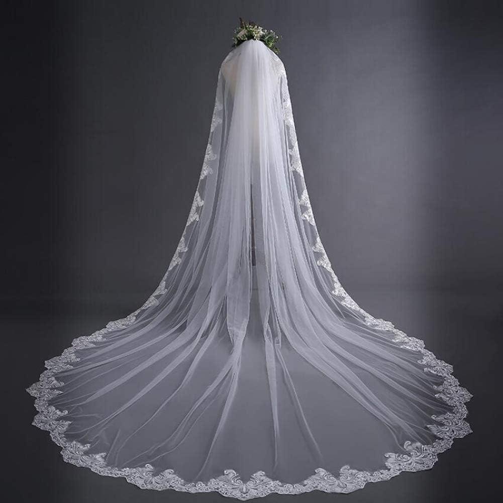 118 Pollici HHVEIL 3 Metri Bianco Avorio da Sposa Velo Lungo Cappella Cattedrale Pizzo Applique Bordo Velo da Sposa con Pettine Accessori da Sposa