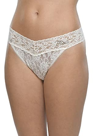 f651e954736036 Hanky Panky Womens Mrs Original Rise Thong in Ivory Clear Crystals ...