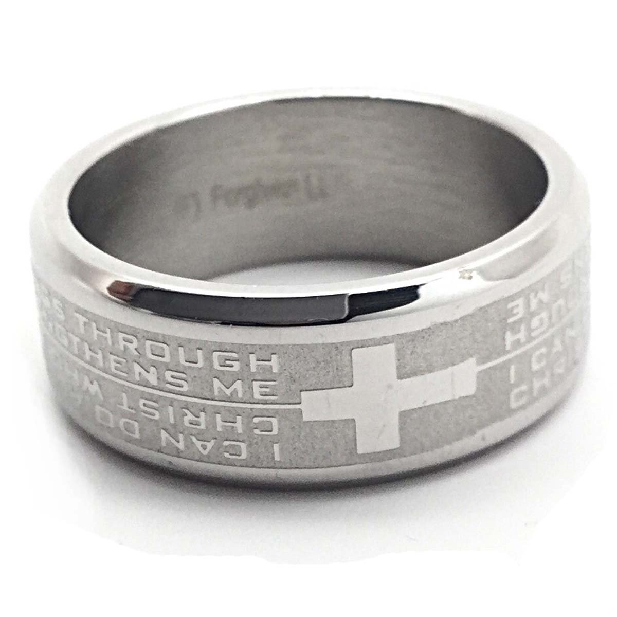 Phil 4:13 I Can Do All Things Through Christ Cross Stainless Steel Ring