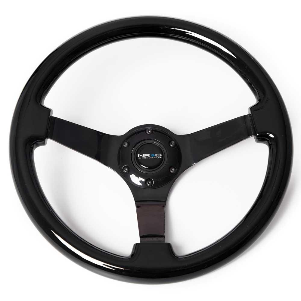 NRG Innovations ST-036BK-MC Classic Black Wood Grain Wheel 3 Deep, 350mm, 3 Solid spoke center in Neochrome