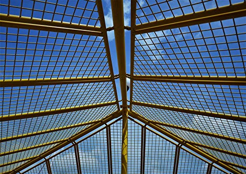 Home Comforts Peel-n-Stick Poster of Metal Yellow Grid Steel Mesh Lattice Roof Sky Vivid Imagery Poster 24 x 16 Adhesive Sticker Poster Print