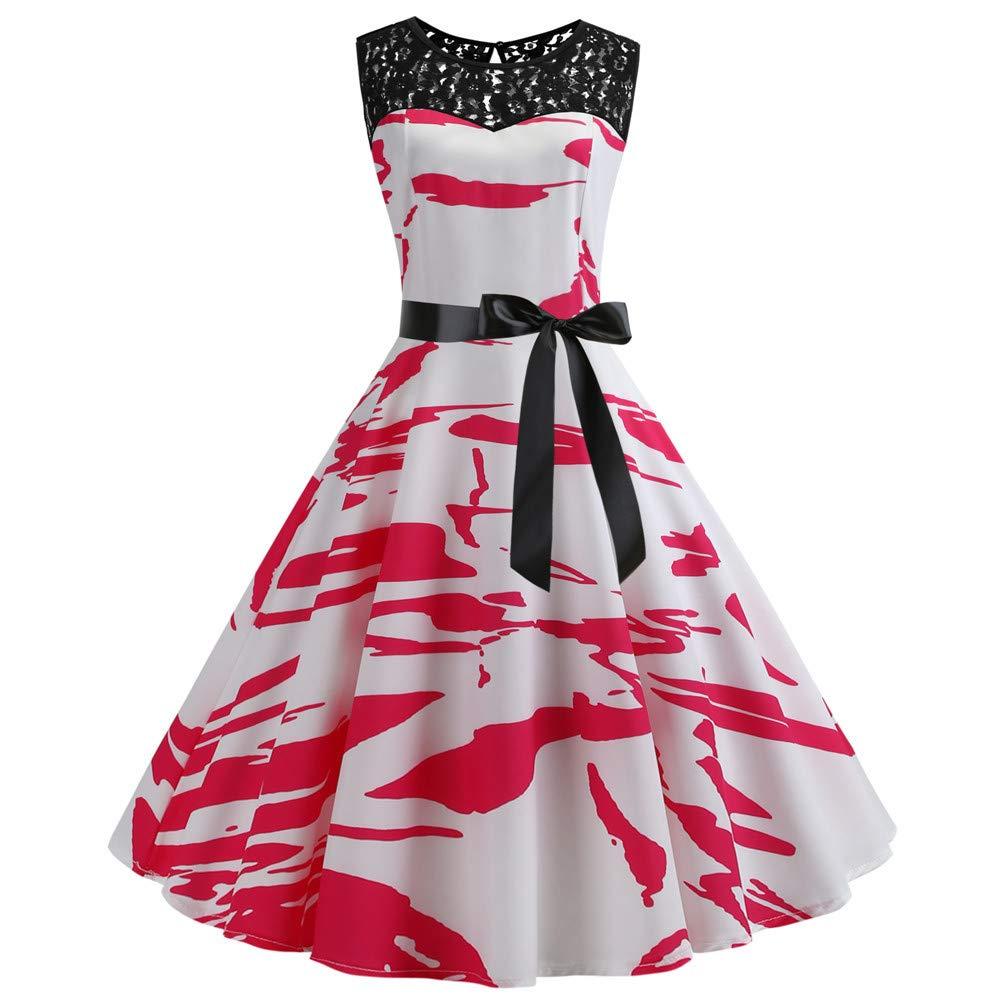 SPITEN Women's Lace Boatneck Sleeveless Vintage Tea Dress ...