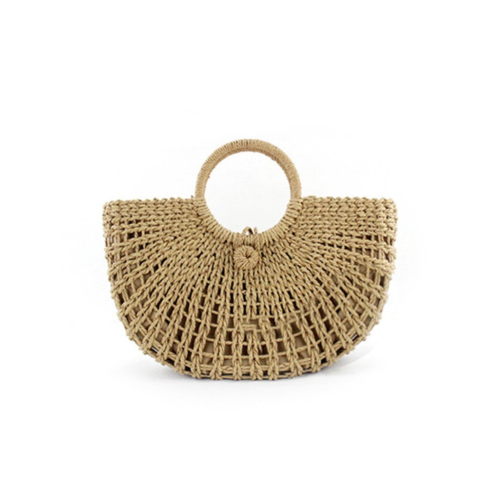 Samber Retro Hollow Hand-Made Woven Bag Fashionable  Straw Bag  Totes  Women Summer No Lining Beach Bag Handbag Shoulder Bag (B)