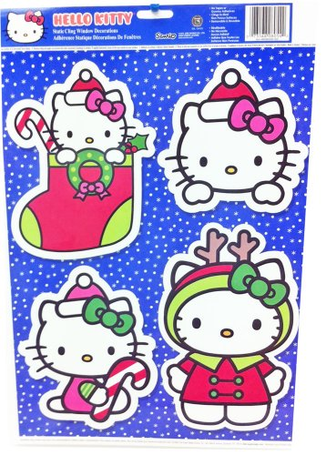 (Hello Kitty Christmas Holiday Blue Static Cling Window Decoration )