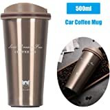 Mainstayae 500ml Stainless Steel Car Coffee Cup Leakproof Insulated Thermal Thermos Cup Car Portable Travel Coffee Mug