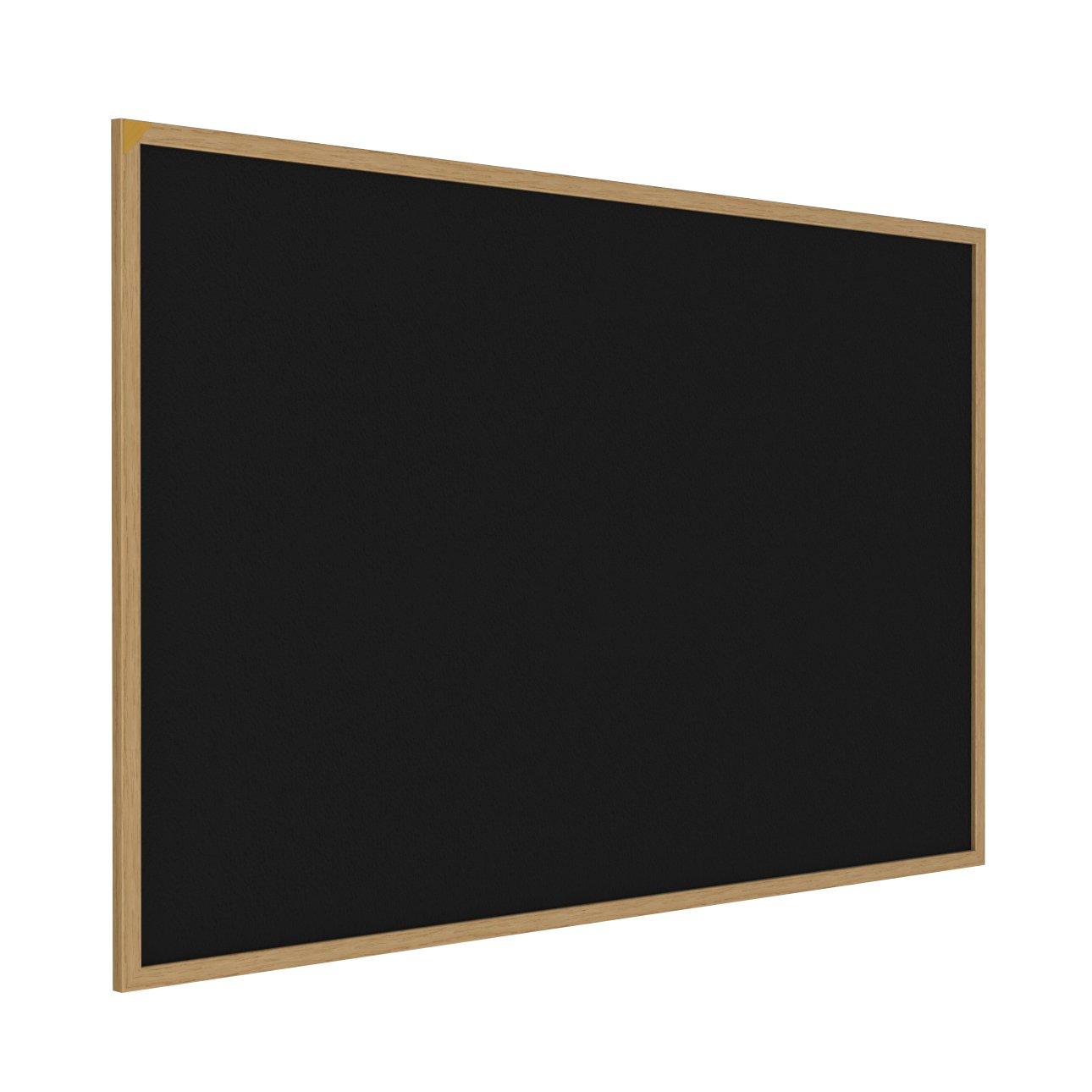Ghent 2'' x 3'' Wood Frame, Oak Finish Recycled Rubber Bulletin Board, Black (WTR23-BK)