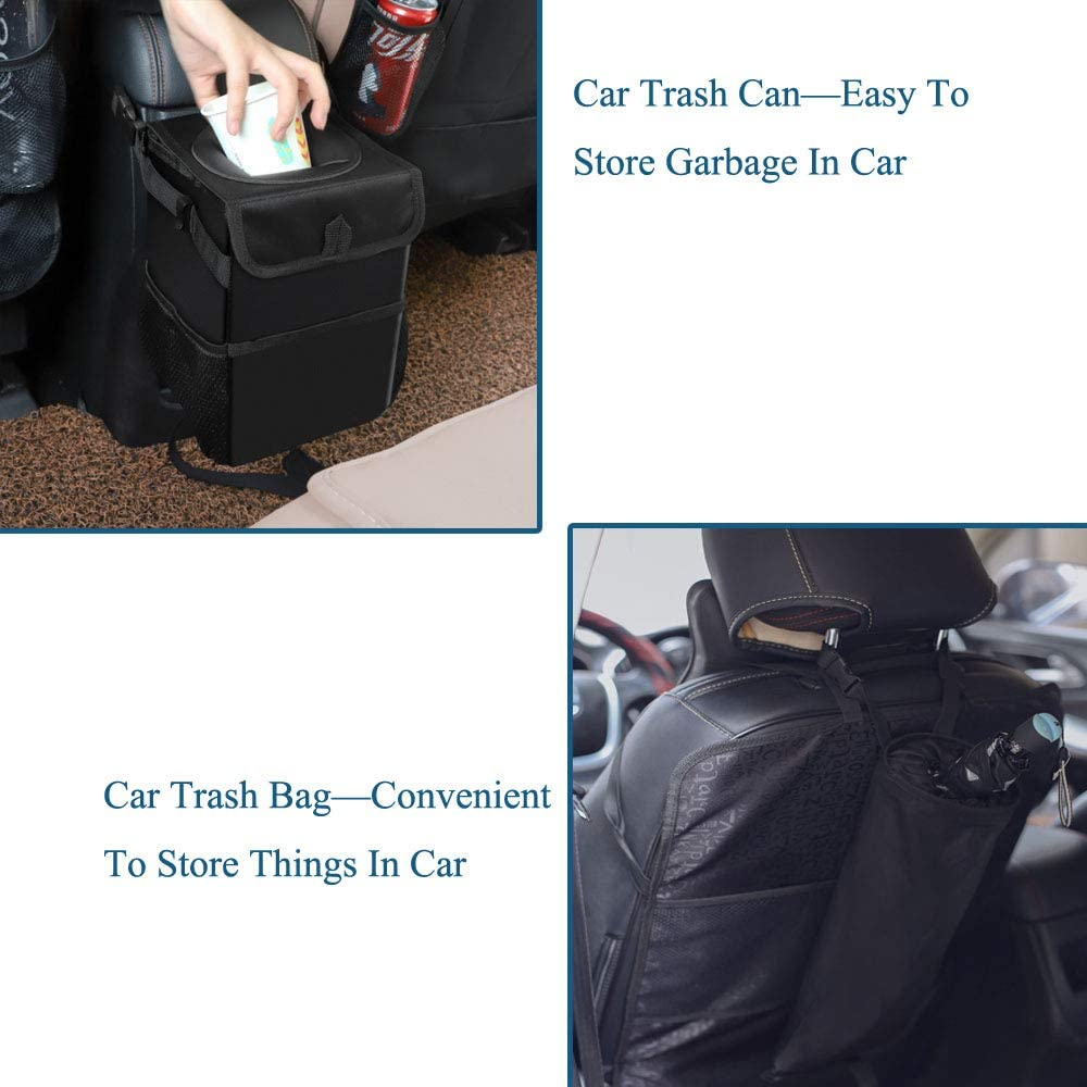 Umira Car Trash Can Comes with an Extra Trash Bag Waterproof Car Garbage Can with Lid Oxford Fabric Trash Container Car Trash Bin Hanging Back Seat Ash-bin for Car Use