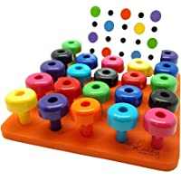Flameer 30Pcs Tall-Stacker Pegs&Pegboard Set for Kids Motor Skills&Color Recognition