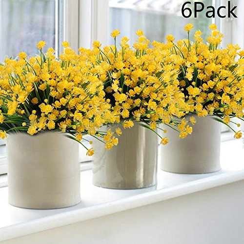 Flores artificiales 6 pack imitacin narcisos amarillos falso verdor 6pack faux flower artificial yellow daffodils fake flowers greenery shrubs plants plastic bushes indoor outside decor mightylinksfo