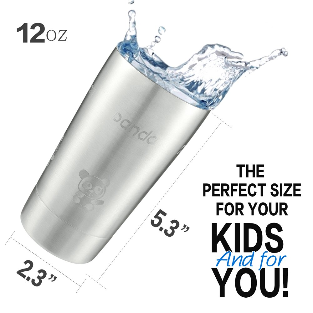 CONNICS Stainless Steel kids tumbler Cups Set With Lid Pint Cup Tumbler Double Well Unbreakable, Brushed Metal Drinking Glasses, Coffee Glasses, for Travel, Outdoor, Camping, 12 Oz,BPA Free (Plane)