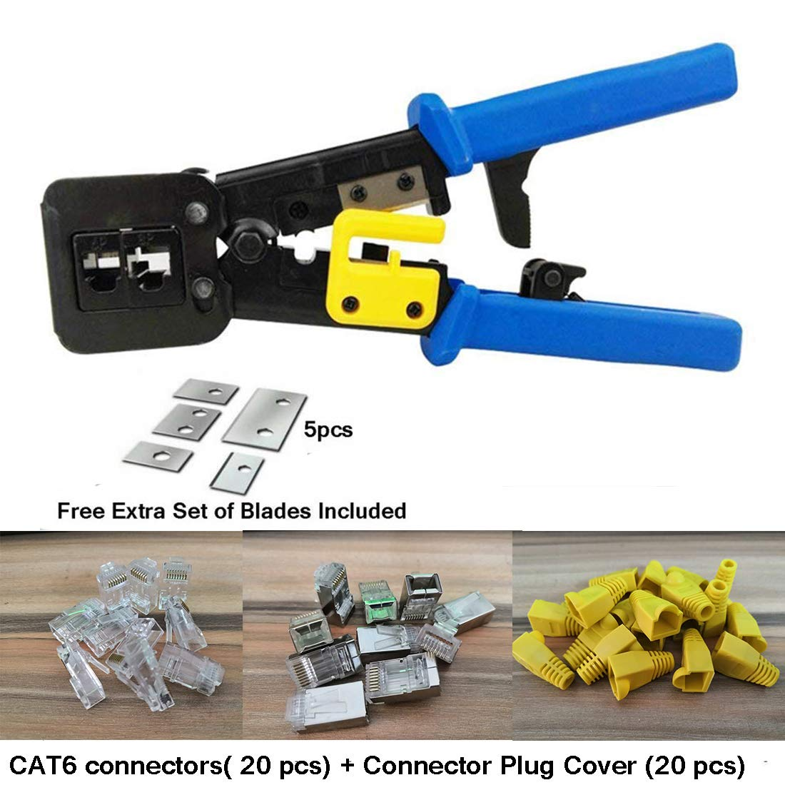 RJ45 Crimp Tool 6P 8P Multi-function Cable Cutter Pass Through Crimper Ethernet Cable Connector Crimping Tool Ratcheting Hand Tools Bonus CAT6 Connector 20 Pack by Ewans (Image #1)