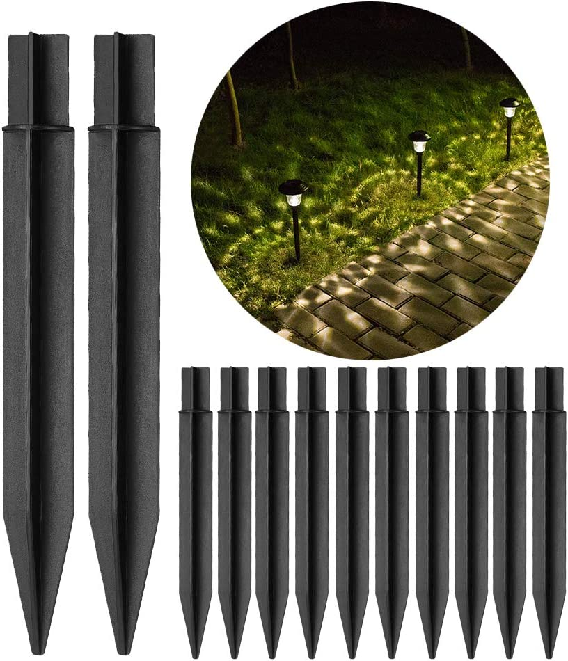 """10 PCS Plastic Ground Spikes for Solar Light Stakes Replacement Parts ABS Plastic for Outdoor Torch Lights(8.26""""×0.83"""")"""