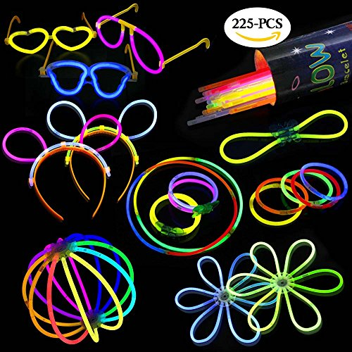 Betheaces Glow Sticks Bracelet and Necklace Light Up In The Dark, Connected Tubes To Glow Headband Glasses for Party Supplies and Vocal Concer with 221 PCS Mixed Colors