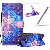 Rope Leather Case for Samsung Galaxy J510 2016,Stand Wallet Flip Case for Samsung Galaxy J510 2016,Herzzer Bookstyle Stylish 3D Blue Mandala Pattern Magnetic PU Leather with Soft Silicone Inner Back Case for Samsung Galaxy J510 2016