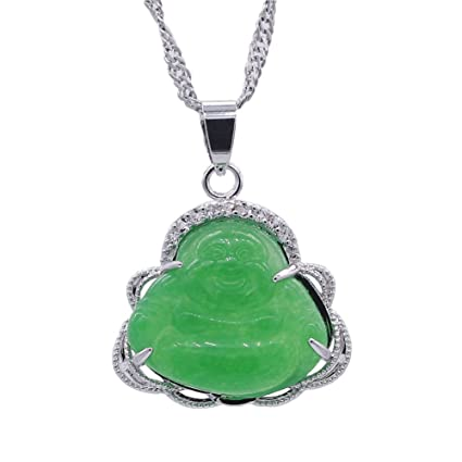 221946649b75d 2017 Luck Happy Green Jade Buddha Pendant AAA CZ Laughing Buddha Statue  Necklace Pendant (Platiunm Plated)