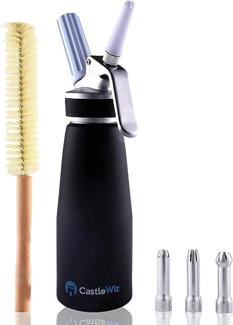 Black Heavy-Duty Aluminum Whipped Cream Dispenser Premium Professional Cream Whipper w// 3 Stainless Steel Decorating Tips Gourmet Whip Dispenser 3 Plastic Icing Tips Mesh Bag /& Recipe Booklet