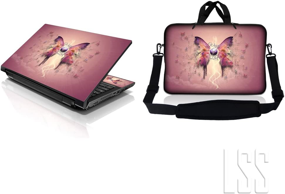 """LSS 17-17.3"""" Laptop & MacBook PRO Sleeve Bag with Matching Laptop Skin Sticker Combo 