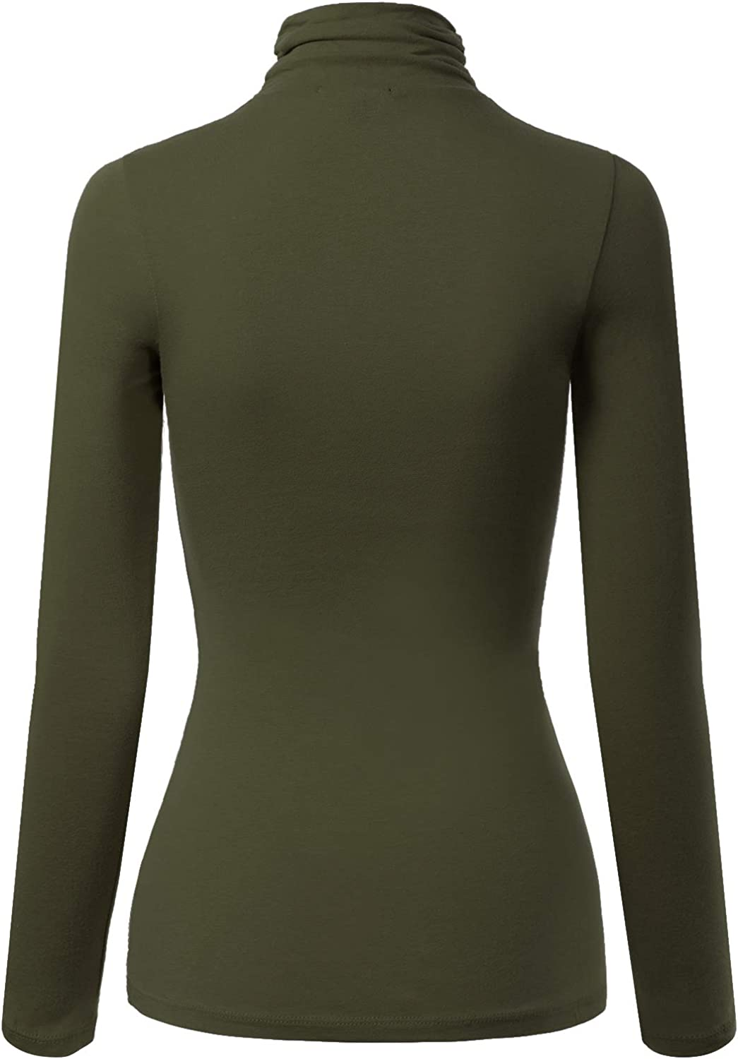 MixMatchy Womens Solid Tight Fit Lightweight Long Sleeves Mock Neck Top