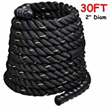 2'' Poly Dacron 30ft/Black Battle Rope Workout Strength Training Undulation TKT-11
