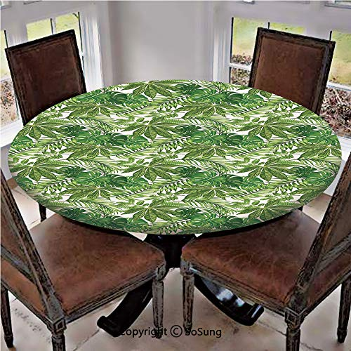 Elastic Edged Polyester Fitted Table Cover,Mix of Jungle Foliage Leaves Madagascar Aloha Botanical Forest Plant Decorative,Fits up 45