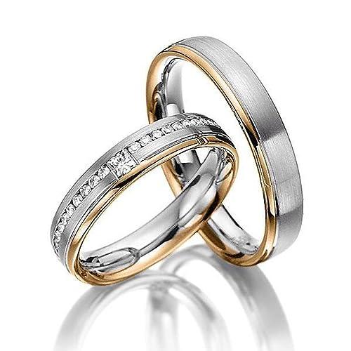 14 K Amarillo Oro Blanco Pulido Satinado Soporte de a juego anillos de boda 0,