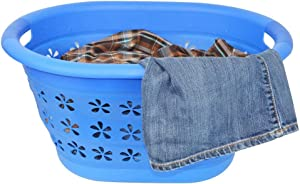 Southern Homewares Collapsible Space Saving Fold Up Laundry Basket Hamper - Perfect for Dorms RVs Campers or on the Go, Blue