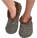 Snoozies - Slippers for Women - Textured Tweed Knit Sherpa Lined Womens Slippers - House Slippers for Women