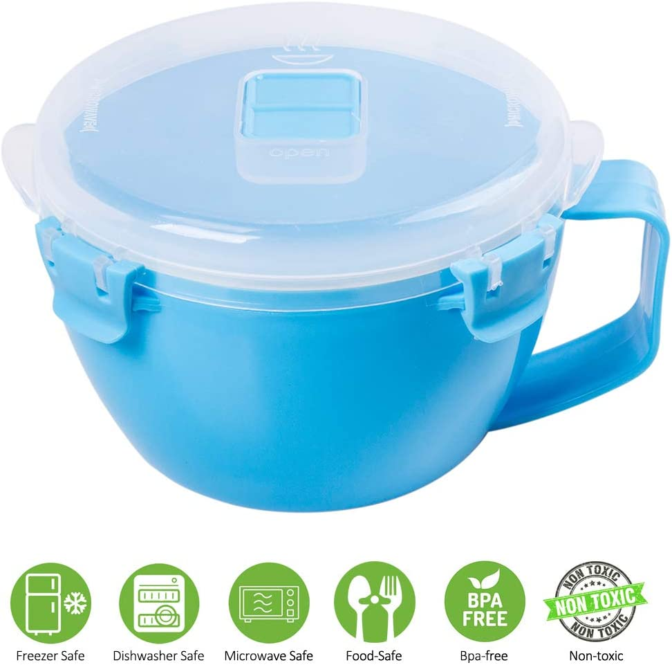 Microwave Soup Bowl by Annaklin, Soup Bowl Microwave Safe with Lid and Handle, 21.78 oz./940ml, Blue
