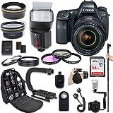 Canon EOS 6D Mark II DSLR Camera + Canon EF 24-105mm f/4L IS II USM Lens + Fully Dedicated TTL Flash + 64Gb SDXC Card + 57 Inch Monopod + FB-150 Flash Bracket + Backpack Case (21 items kit)