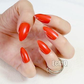 echiq rojo brillante uñas clavos Stiletto Sexy rojo acrílico uñas consejos punta Artificial uñas postizas nuevo Full Cover: Amazon.es: Belleza