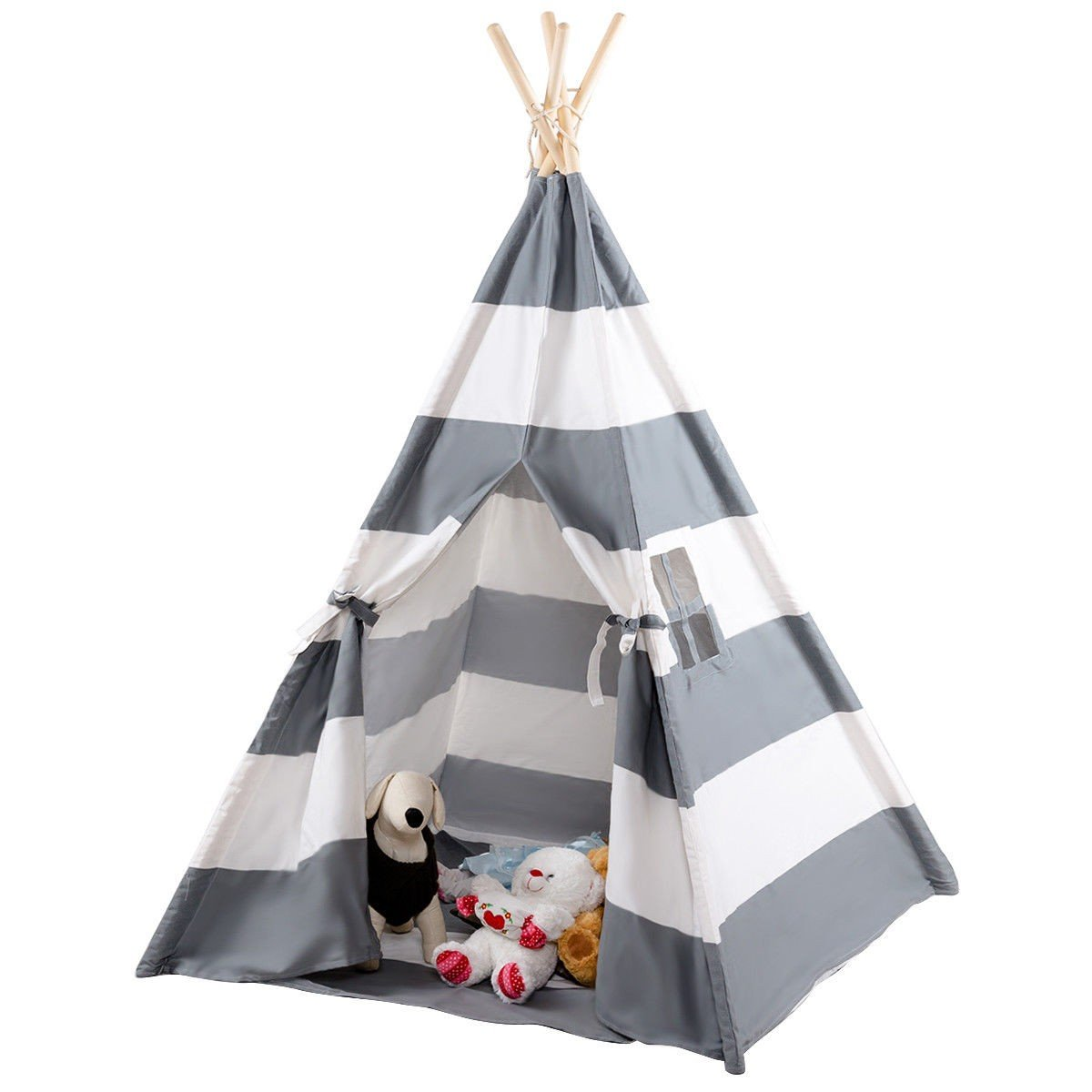 COSTWAY Kids Indian Play Tent Teepee Children Girl Boy Play House Sleeping Dome Bag Gray + FREE E - Book Only By eight24hours by COSTWAY (Image #6)