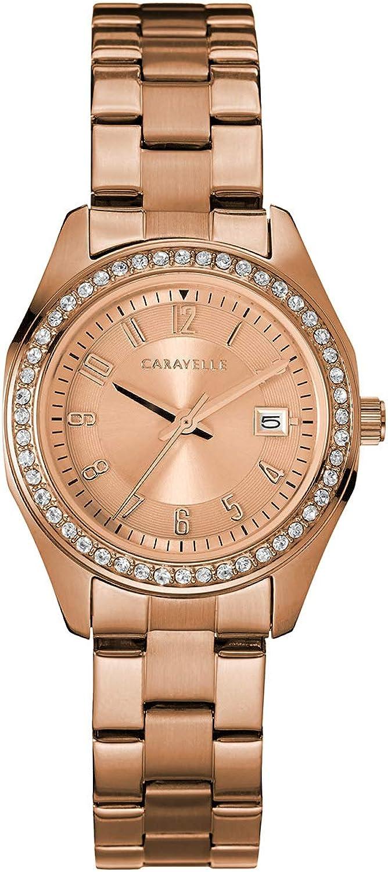 Caravelle 44M114cristal de la mujer, color oro rosa, esfera de oro rosa reloj de pulsera de acero