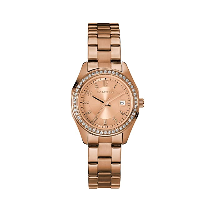 Amazon.com: Caravelle Womens Quartz Watch with Stainless-Steel Strap, Rose Gold, 13.75 (Model: 44M114: Watches