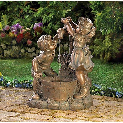 Outdoor Garden Boy Girl Playing Old Fashioned Pump Bronze...
