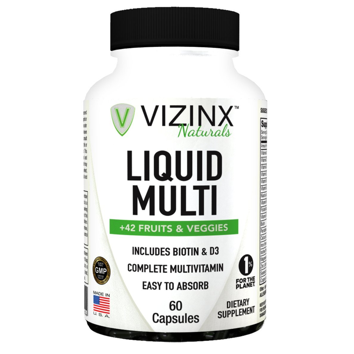 VIZINX Liquid Multi + 42 Fruits And Veggies Capsules 60 CT, is a complete liquid multivitamin that contains a blend of vitamins, minerals, vegetables, and fruits. Includes Biotin, Vitamin D3 & Iron. by VIZINX (Image #1)