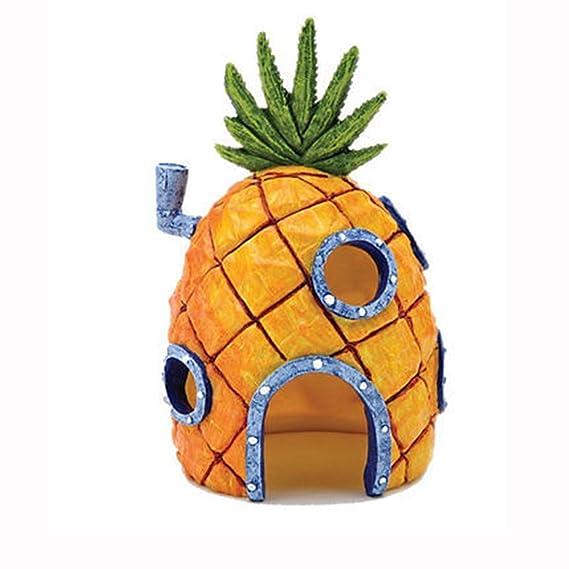 Adorno de casa con forma de piña como en los dibujos animados para decoración de acuario o pecera: Amazon.es: Hogar