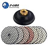 Z-LION 4'' inch Dry Diamond Polishing Pads 7 Pcs Set with Rubber Backer for Concrete Marble Granite Stone Glass
