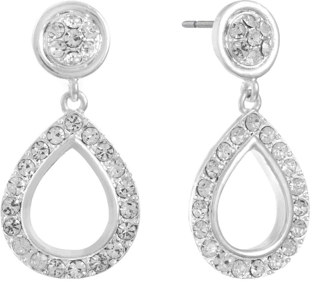 Gloria Vanderbilt Post Top Rhinestone Teardrop Earrings One Size Silver tone