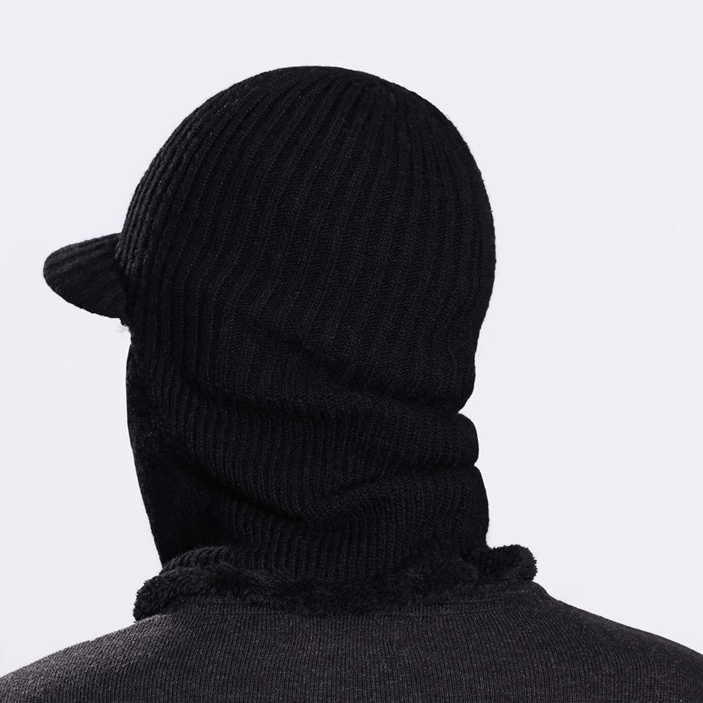 ce4d27d9659 Winter Hat Beanie Cap Balaclava Face Mask Men s Women s Knit Wool Warm Neck  Scarf Set Windproof Motorcycle Black at Amazon Men s Clothing store