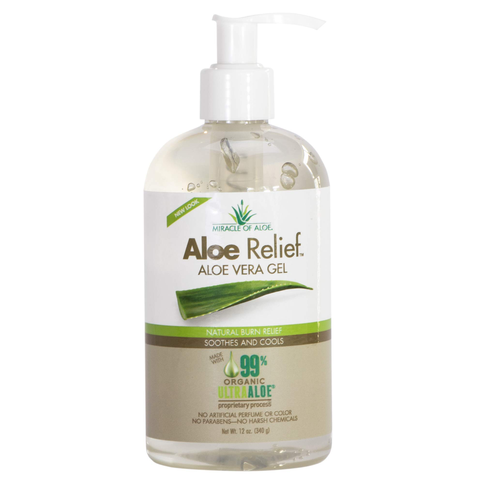 Aloe Relief Aloe Vera Gel 99% Pure Certified Organic made FRESH from the plant with naturally Enhanced UltraAloe Gel | No Parabens | No Fragrance | Cruelty Free | 12 ounce bottle with pump. by Miracle of Aloe