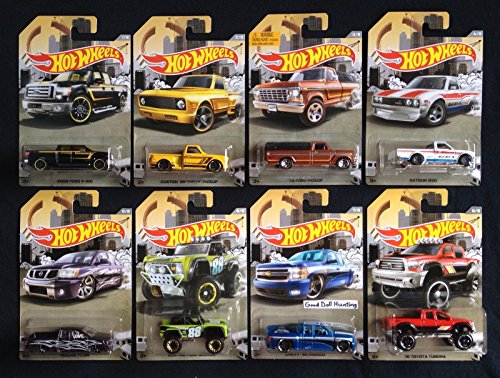2016 Hot Wheels Truck Series Set of 8 ford f 150 '69 chevy pick up '79 ford pick up datsun 620 nissan titan custom ford bronco chevy silverado ,10 toyota tundra