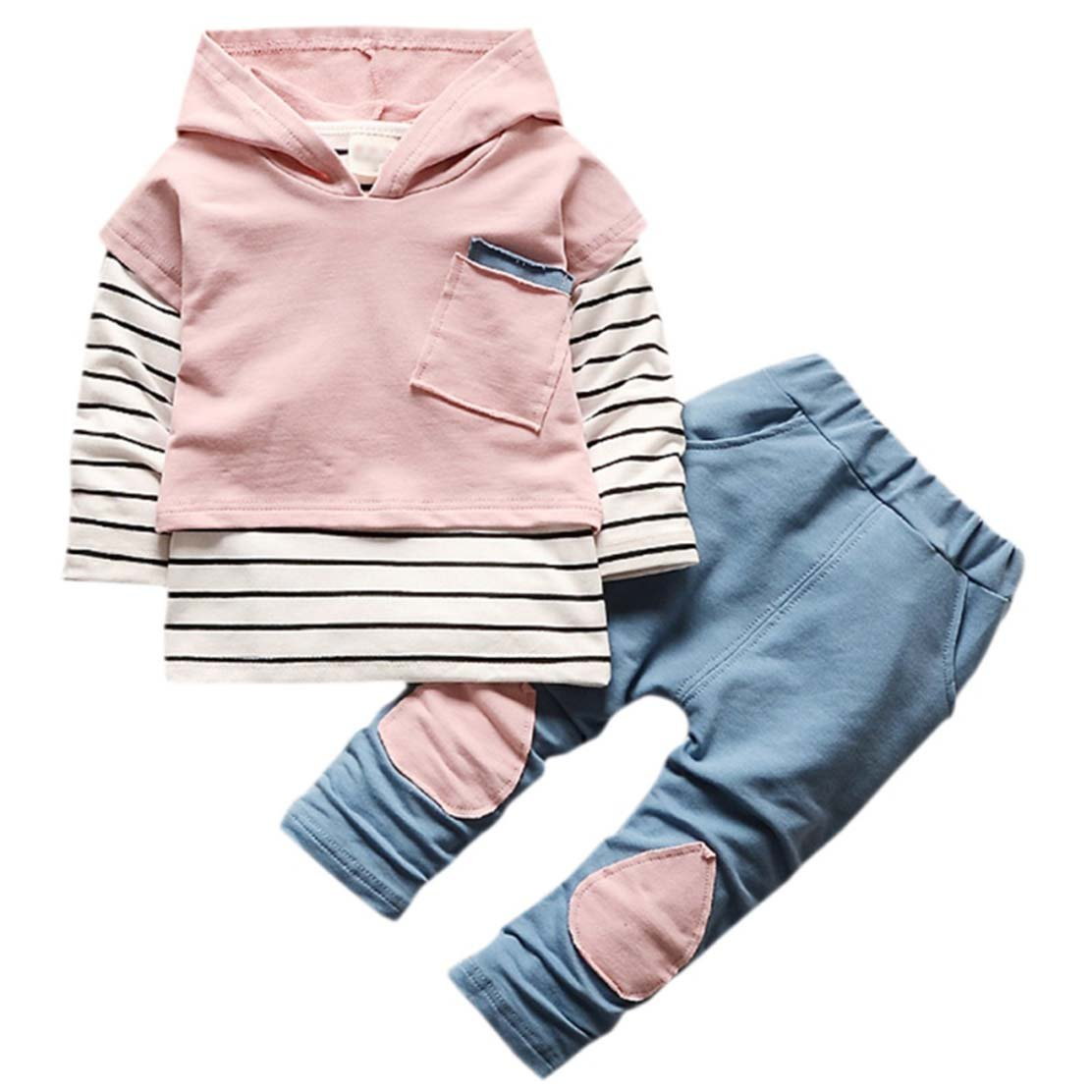 New Toddler Suit Boys Girls Children Clothing Long Sleeve Striped Hoodie Tops + Denim Pants Sets Pink 12m