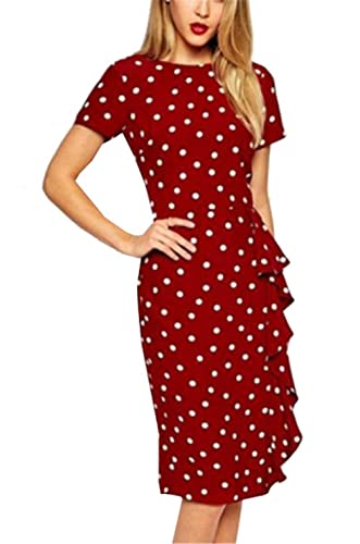Lymanchi Women's Retro Classic Polka Dot Wear to Work Business Party Dress