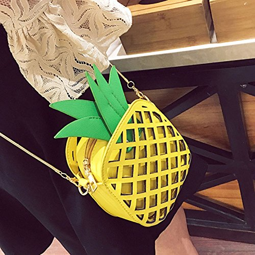 Hiking Ladies Yellow For Travel Pineapple Bags Shoulder Hollow Girls Chain Espeedy Shape Strap SHnqaPaX7