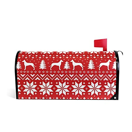 Amazon.com: Magnetic Mailbox Cover Great Dane Christmas Sweater Wrap ...