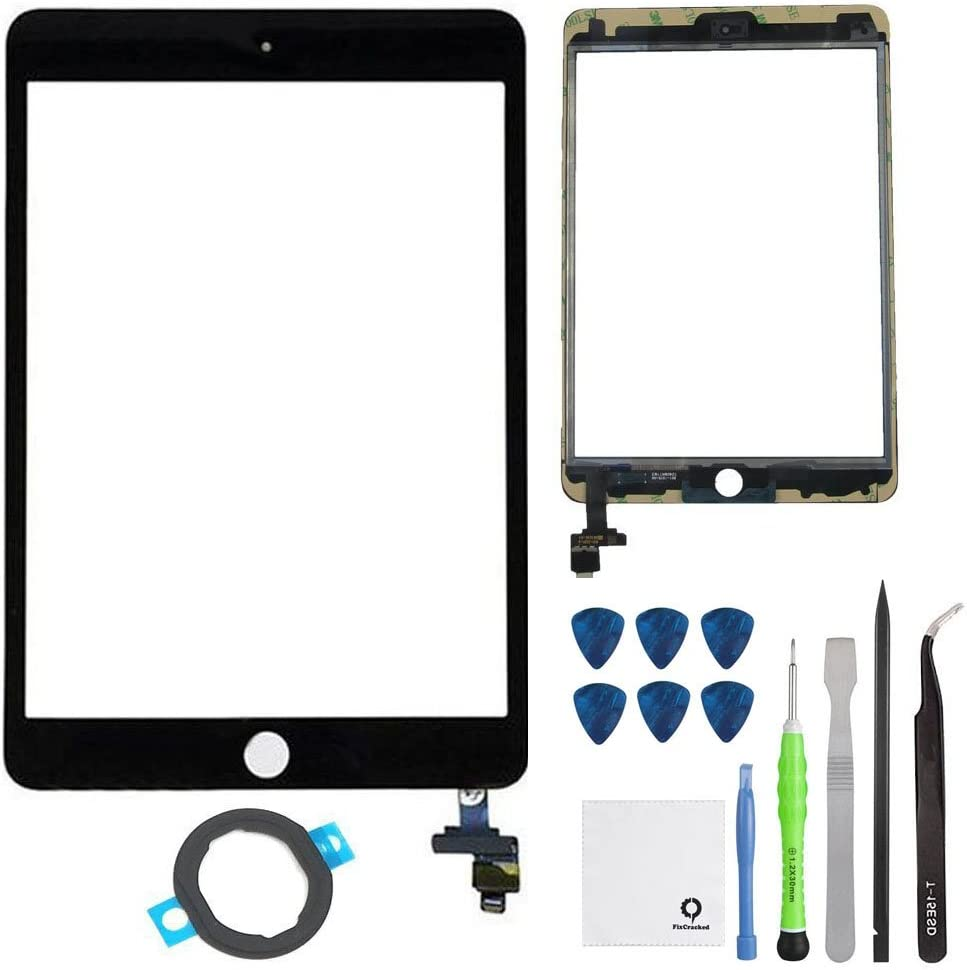 Fixcracked Touch Screen Replacement Parts Digitizer Glass Assembly for Ipad mini 3 + Professional Tool Kit (GSM CDMA Black Repair Kit)