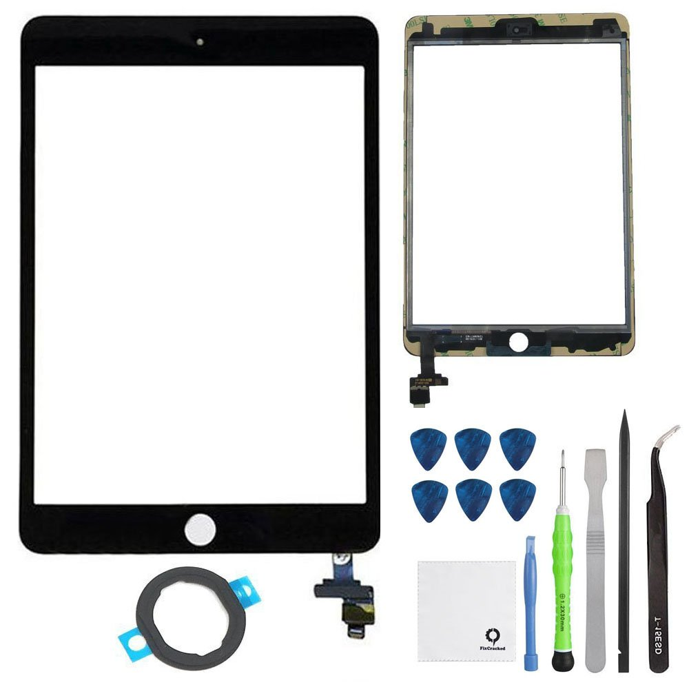 FixCracked Screen Replacement for iPad Mini 3, Front Glass/Digitizer Touch Panel with IC Chip Connector for iPad Mini 3 3rd A1599 A1600 (at&T/T-Mobile/Sprint/Verizon) GSM CDMA Black Repair Kit
