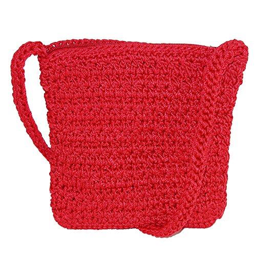 Crossbody Red CTM Crochet Women's Handbag EwIZqSCWHZ