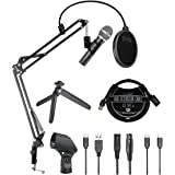 Audio-Technica ATR2100x-USB Cardioid Dynamic Microphone for Voiceover, Podcasting and Studio Recording Bundle with Blucoil Bo